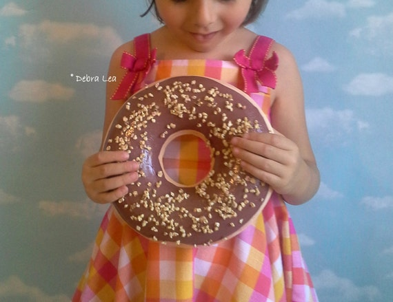 GIANT Faux Donut Fake Glazed Doughnut Chocolate Frosting and Nuts WALL DECOR Fake Cake Kitchen Decor Display