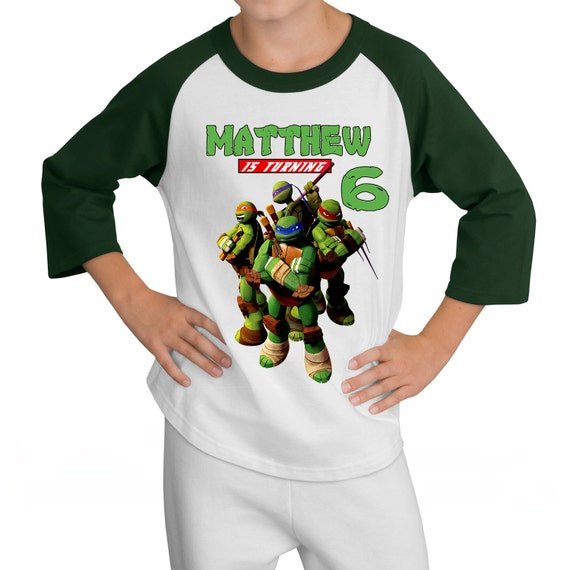 Personalized TMNT Teenage Mutant Ninja Turtles Birthday Raglan Shirt - tshirt custom