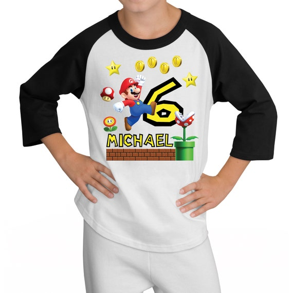 Super Mario Brothers Birthday Raglan Shirt Personalized - nintendo wii video game