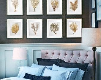 Summer Decor, Sea Fan Art, Sea Coral Prints Set of 12, sea fan print, Beach wall hanging brown redish orange, Coastal decor Gnosis