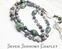 Stunning SEVEN SORROWS Our Lady of Sorrows Rosary Chaplet with Black Veined Jasper beads, Dragons Vein Agate Our Fathers & Pardon Crucifix
