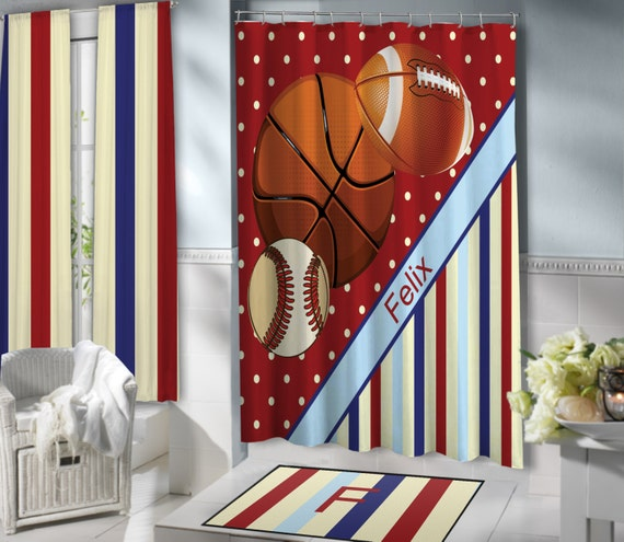 red sports shower curtains for kids basketball football