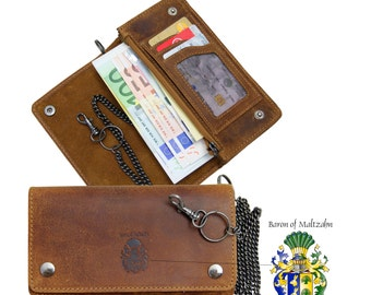 Wallet ROCKEFELLER with chain made of brown leather
