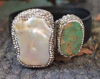 Wonderful BLISTER PEARL,Natural Copper Turquoise CUFF set in Sterling Silver and Swarovski Crystals,Wow!