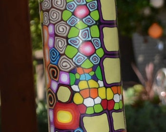 Bright and colorful millefiori vase, polymer clay on glass