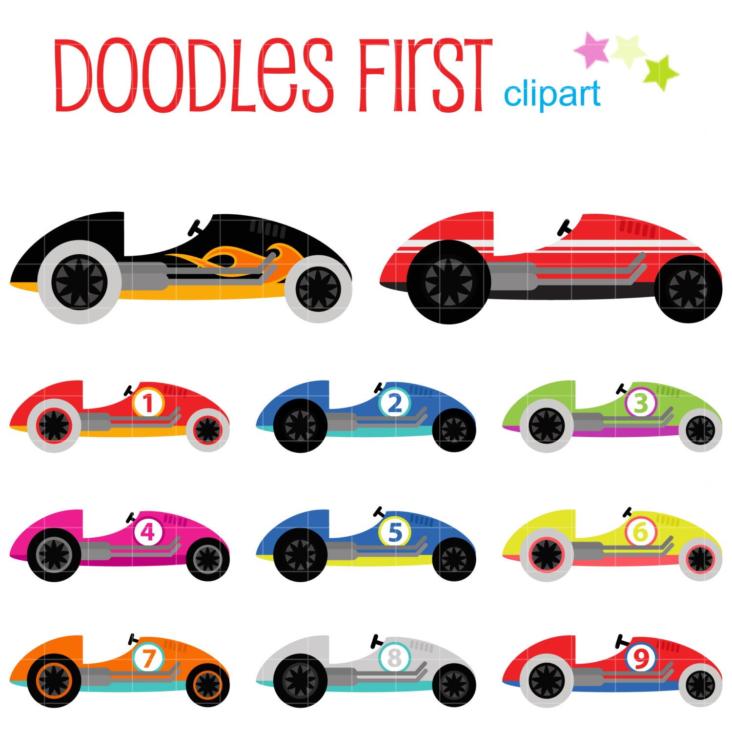 Cute Race Cars Digital Clip Art For Scrapbooking Card Making