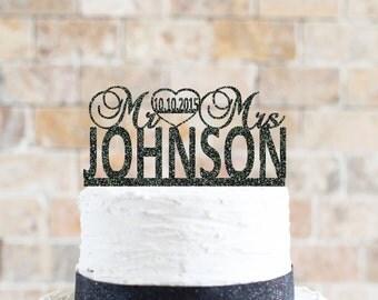 Glitter Wedding Cake Topper 6x3.5  (item number 10047)