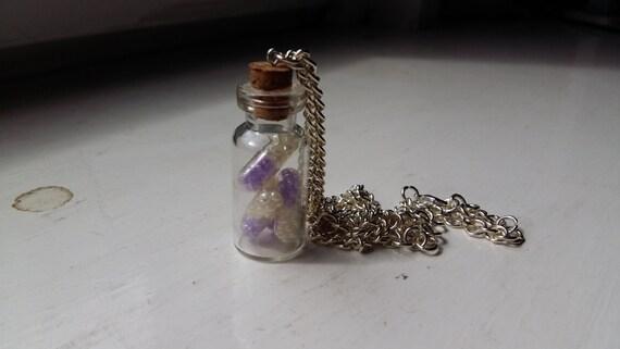 Purple pill bottle necklace for Pill bottle jewelry