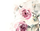 Roses Flowers Watercolor Painting, Original Watercolour Painting Art, Modern Art, Floral Pink Green