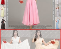 Sale! Pink Maxi Dress with Faux Surplice Bodice & Waist Yoke -Evening Dress-Prom Dress - V Neck Maxi Dress - Coral Maxi Dress-100 Colors-53N