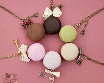 Macaron Pendant / Food Miniature Jewelry / Dollhouse Miniature / Macaron necklace / cute jewelry / bow necklace / handmade macaron Copy