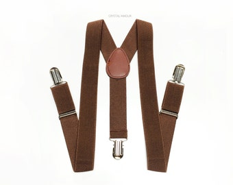 toddlers suspenders, brown suspenders, brown suspender, for children, toddlers and infants, fully adjustable straps