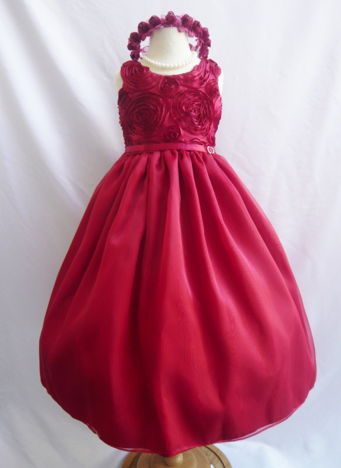 Flower Girl Dresses RED Rosette Swirl by NollaCollection on Etsy