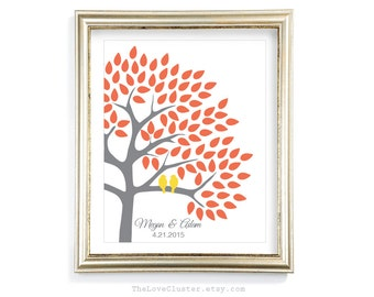 Wedding Tree Guestbook Print / 16x20 / 90 Guests / Signature Guest Book Alternative / Guest Book Poster / Personalized Wedding Print