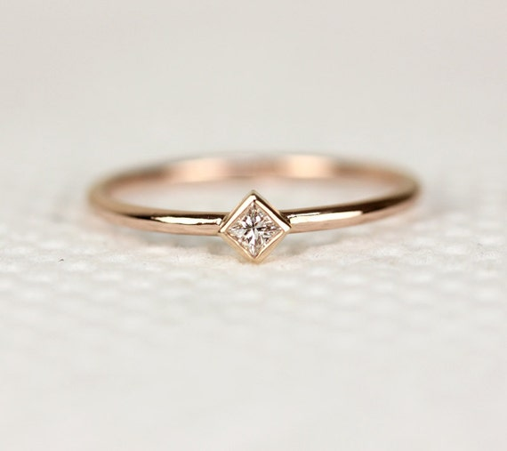 princess cut engagement ring in 14k solid