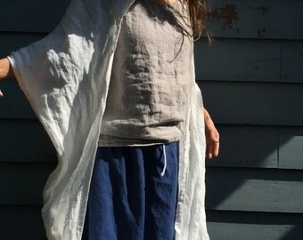 Summer Hooded Linen Scarf - Light Weight - Off White - Natural - Misses Country