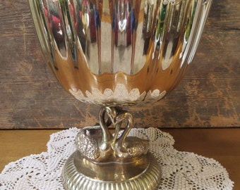 Solid Brass Pedistal Bowl Trophy Cup Vase Compote with Swans Hollywood Regency
