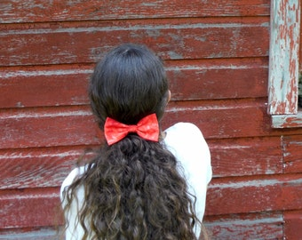Red Calico Hair Bow