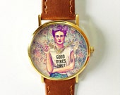 Frida Kahlo Good Vibes Only Watch   , Vintage Style Leather Watch, Women Watches, Unisex Watch, Boyfriend Watch, Floral, Flower Crown