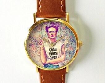 Frida Kahlo Good Vibes Only Watch   , Vintage Style Leather Watch, Women Watches, Unisex Watch, Boyfriend Watch, Floral, Flower Crown