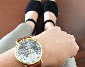 Watch, Map Watch, Vintage Style Leather Watch, Women Watches,, Boyfriend Watch, World Map, Tan, Gift for Her, Gift for Him, Unisex Jewelry