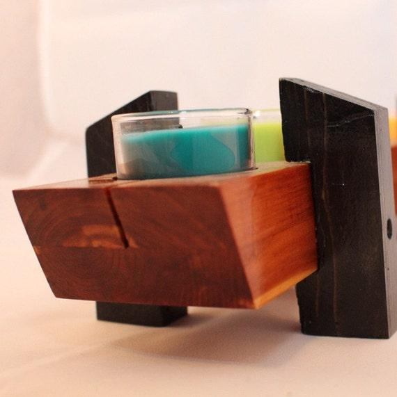 Cedar tea light centerpiece exotic wood by owenstreetstudio