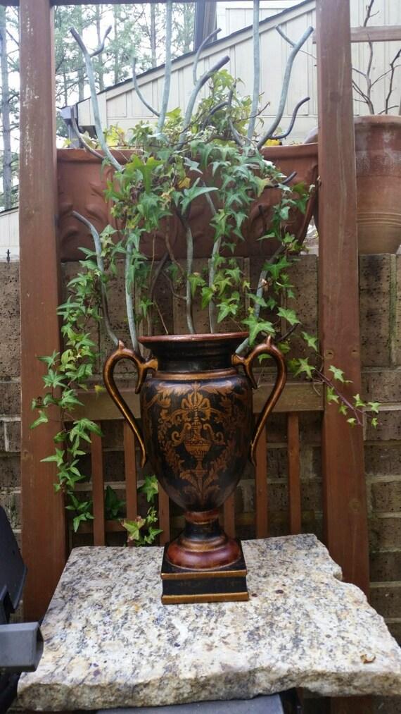 Vintage ceramic two handle amphora vase square pedestal base - Ceramic pedestal table base ...