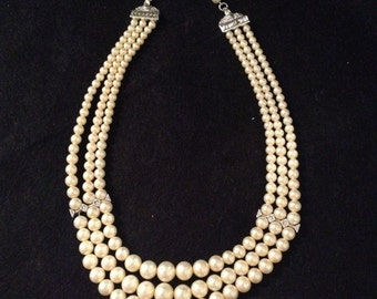 Vintage Signed Pennino Faux Pearl and Rhinestone Three-Strand Choker Necklace