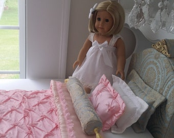 American Girl Doll Bed and Bedding, 8PCS Luxurious Royal Upholstered Bed & Headboard with Matching High End Elegant Bedding Set