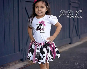 Cowgirl Tutu Outfit, Farm Party Tutu Outfit, 1st Birthday Outfit, Any Number On Shirt