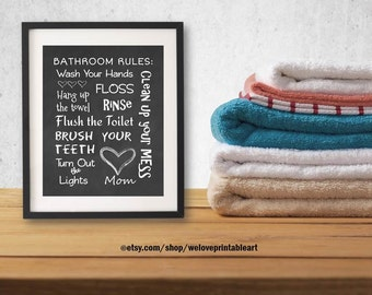 Bathroom Rules Sign, Wash Your Hands Sign, Brush Your Teeth, Flush the Toilet Sign, Bathroom Decor Wall Art, Bathroom Quotes for Kids