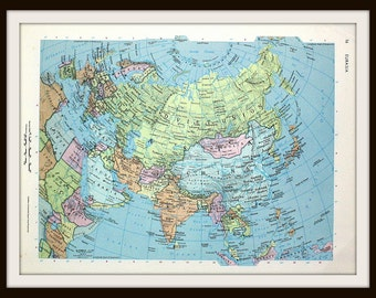 Eurasia Map, Europe, China, Soviet Union, Large 12 x 9 Art Print, Colorful 1960's Map, Ready to Frame