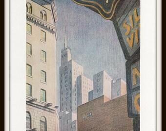 Dallas Art Print, Watercolor Cityscape by Pinckney Alston Trapier, 8 x 10 Vintage Lithograph, Cityscape, Wall Art, Home Decor