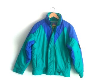 80's, Teal and Blue Ski Coat