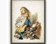 Alice in Wonderland Wall Art Poster - Nursery Home Decor - Alice Full Color Childrens Book Illustration Print (AL13)