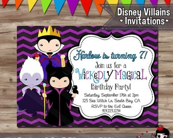 Disney Villain Birthday Invite, Villian Birthday Invitation, Disney Villian Invite Ursula Maleficent Evil Queen - Digital Printable JPG File