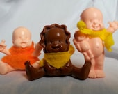 """Vintage lot of 3 Irwin L'il Babies Dolls 2"""" RARE with clothes baby shower collectible toy boy girl"""