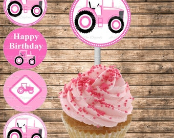 DIY Printable Pink Tractor Themed Happy Birthday Cupcake Toppers - Printable Instant Download