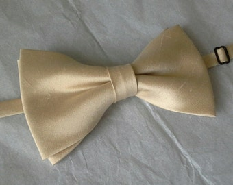 Beige  and yellow dupioni silk bow tie pretied