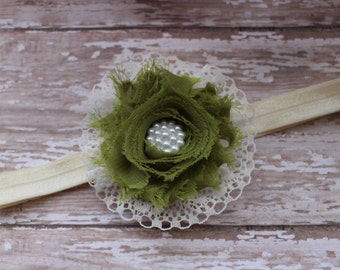 Olive rosette and lace headband - vintage headband - single rosette headband - photo prop - newborn headband - ivory lace headband