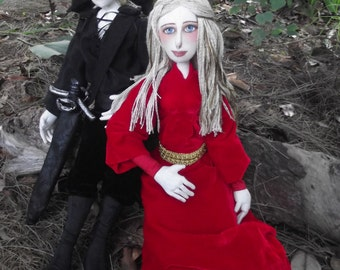 Buttercup and the Dread Pirate Roberts, Princess Bride OOAK cloth art doll pair