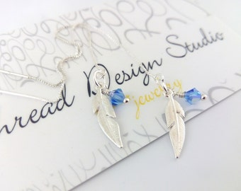 Sterling Silver Feather on a chain. Personalized Dangle earrings. Swarovski crystals.