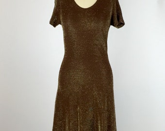 1990s. metallic lurex brown skater dress. size extra small-small