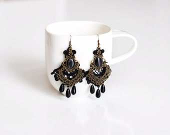Black Lace Antique Bronze Earrings