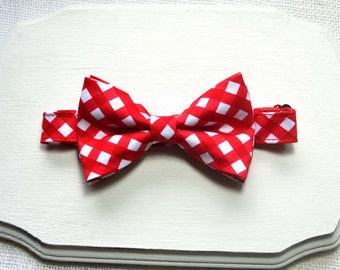 Christmas Red Gingham Bow tie For baby/Toddler/Teen/Adult/with Adjust strap/Clipon