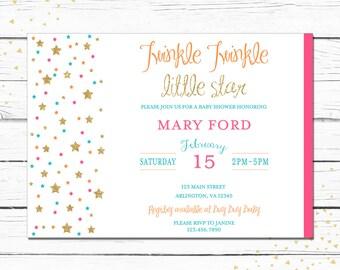 Girl Baby Shower Invitation, pink, turquoise, orange, tangerine, stars, twinkle twinkle baby shower, gold, golden, 012