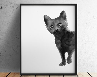 Black Cat Art Print, Kitten Giclee Ink Painting, Animal Illustration, Black Home Decor, Cat Drawing