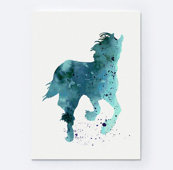 Turquoise Home Decor Horse Art Print Giclee Custom Animal Silhouette