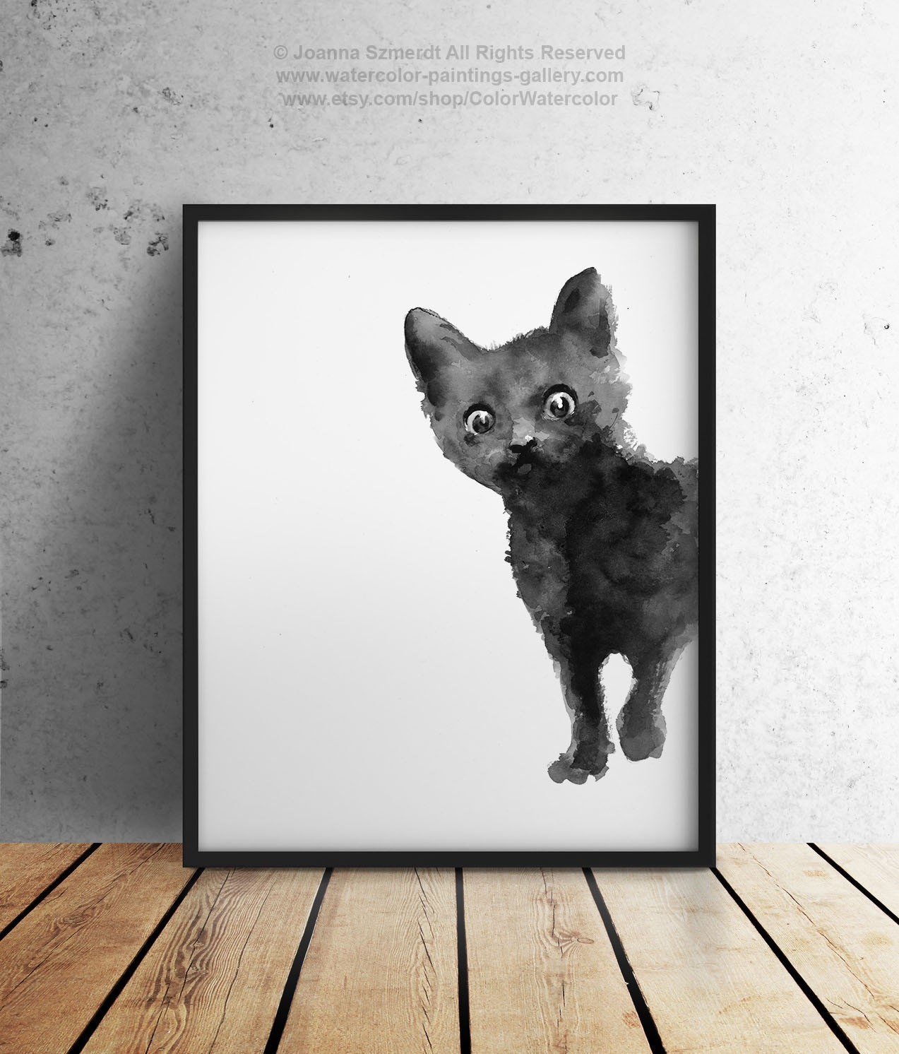 Black cat art print kitten giclee ink painting animal for Cat paintings on canvas