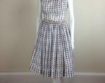 novelty car print day dress w/ full skirt 60's
